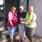 Presidents Weekend Captains Marie Comer (Tee Birdies) and Marie Devlin (Driving Divas) with Lady President Gaby Considine.